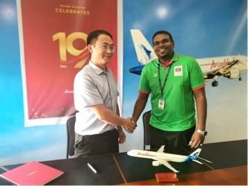 陕西飞鲸与马尔代夫国家航空公司在马尔代夫签署航空航线代理运营合作协议